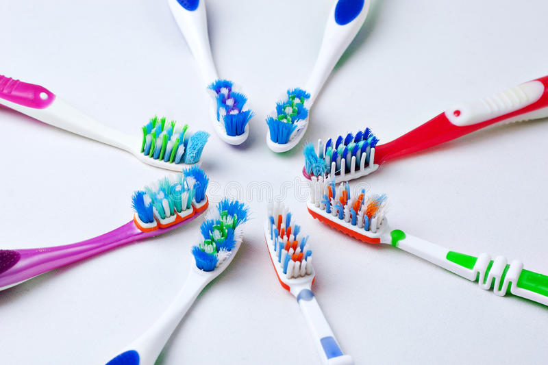 Toothbrushes variety royalty free stock images