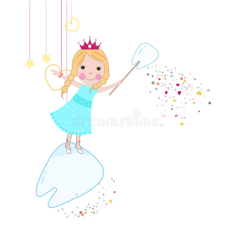 Toothfairy with hearts and stars vector vector illustration