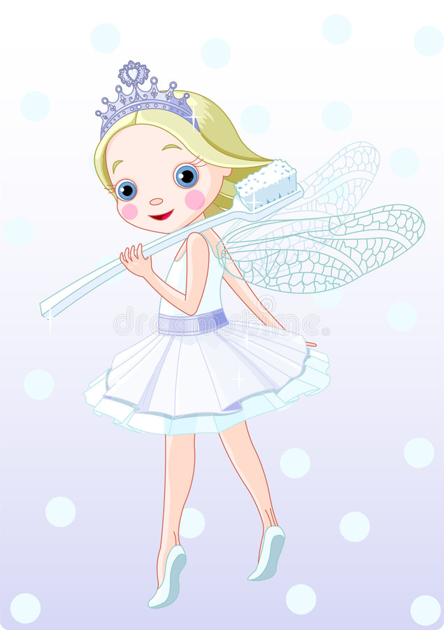 Toothfairy with toothbrush stock illustration