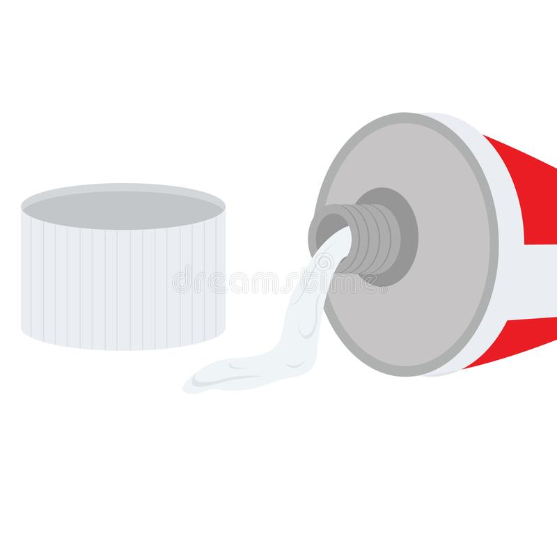 Toothpaste coming out from tube. This illustration shows toothpaste oozing out from the tube vector illustration