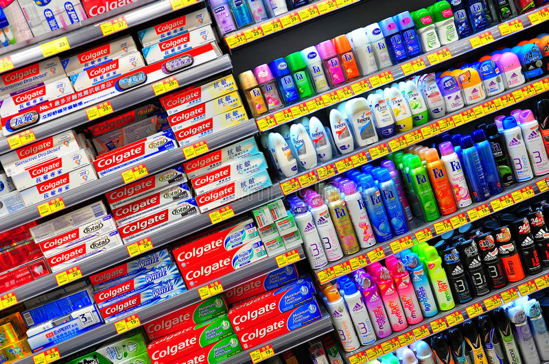Toothpaste and cosmetic products royalty free stock image
