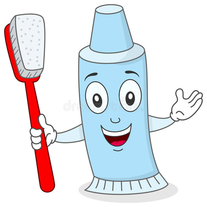 1 Toothed Cartoon Characters : Toothpaste with toothbrush character stock vector