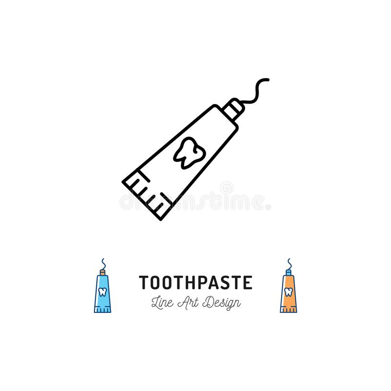 Toothpaste tube line icon, Dental hygiene logo. Vector flat illustration. Thin line art design vector illustration