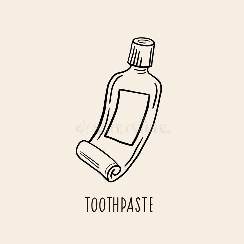 toothpaste vector linear illustration freehand drawing
