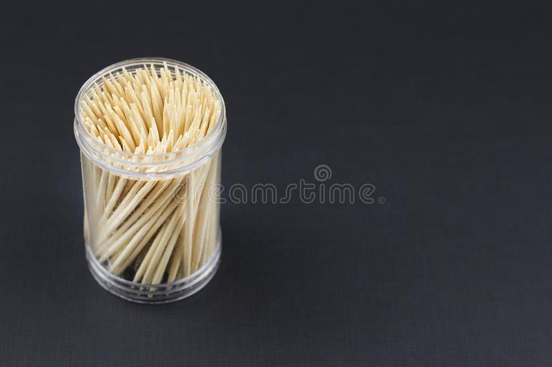 Toothpicks on a black background studio royalty free stock images