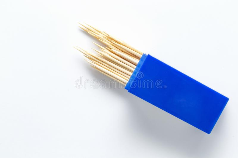 Toothpicks isolated on the white background. Close up bamboo toothpicks on top view. royalty free stock images