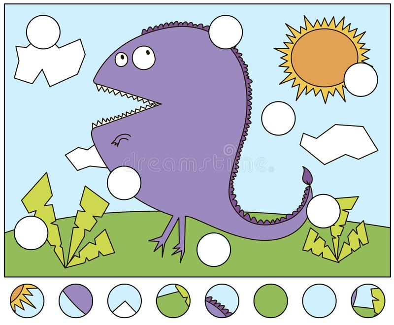 Toothy cartoon monster. Complete the puzzle and find the missing parts of the picture. Game for kids. Toothy cartoon monster on a walk on a sunny summer day stock illustration