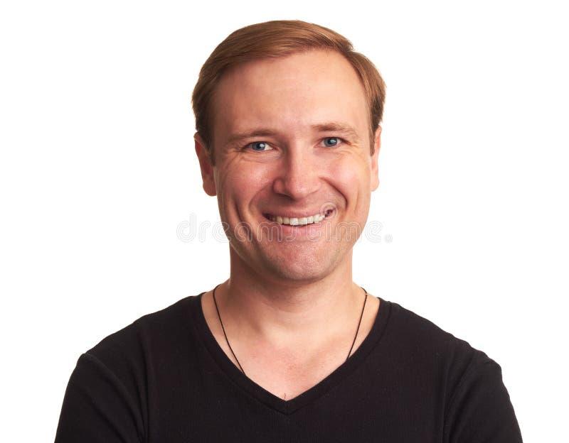 Toothy Lächeln des freundlichen Mannes lokalisiert lizenzfreies stockfoto