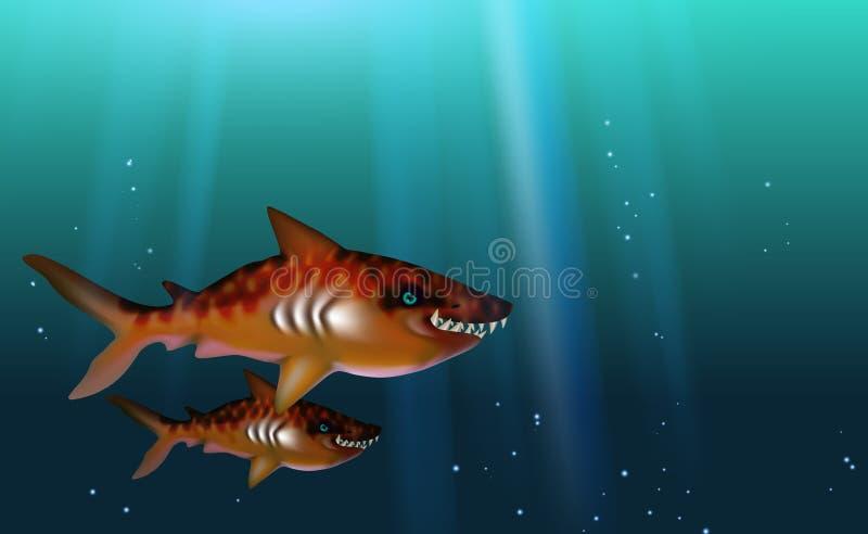 Toothy predador de Tiger Sharks do fundo azul, com fome selvagem e irritado com dentes grandes Peixes pequenos do rebanho Engraça ilustração royalty free