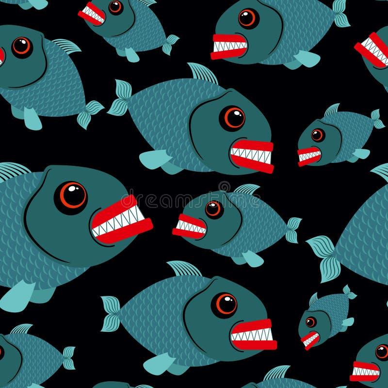 Toothy rybi bezszwowy tło Zli piranhas w morzu Wektor lub royalty ilustracja