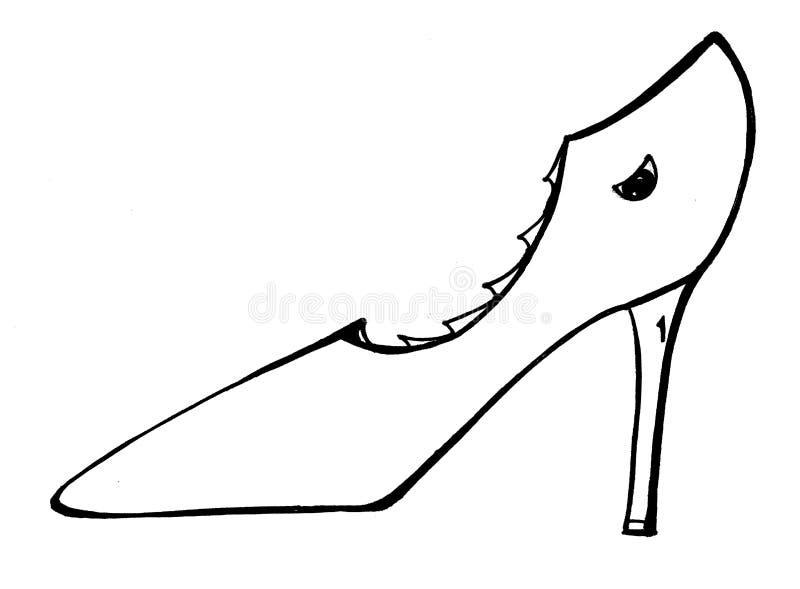 Toothy sko med ett öga stock illustrationer