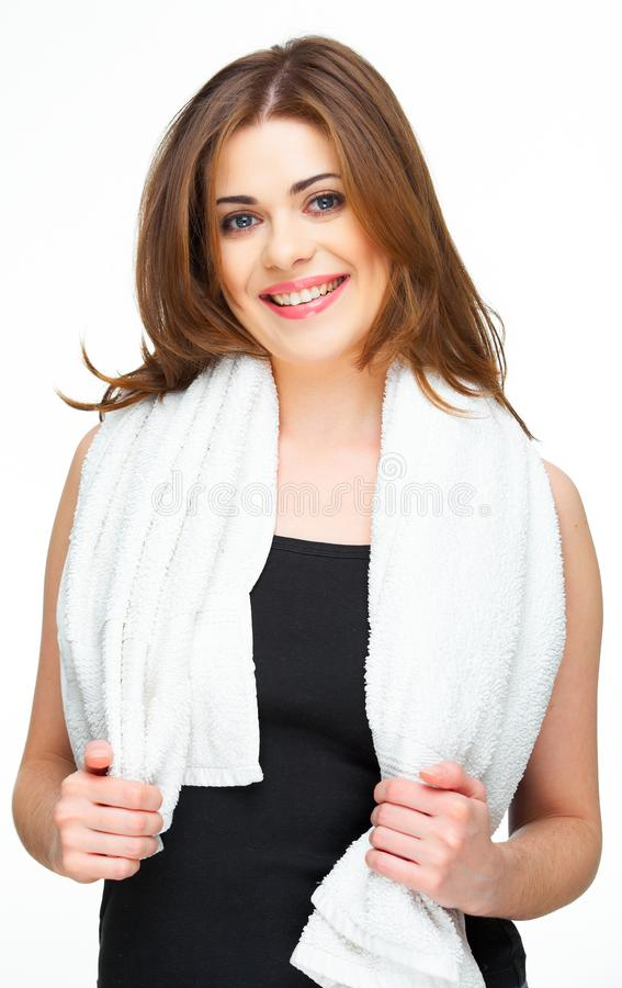Toothy smile portrair of a young woman royalty free stock images