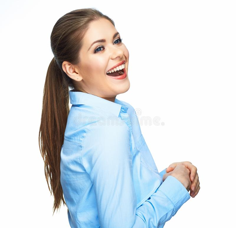 Toothy smiling business woman portrait. Isolated stock photography