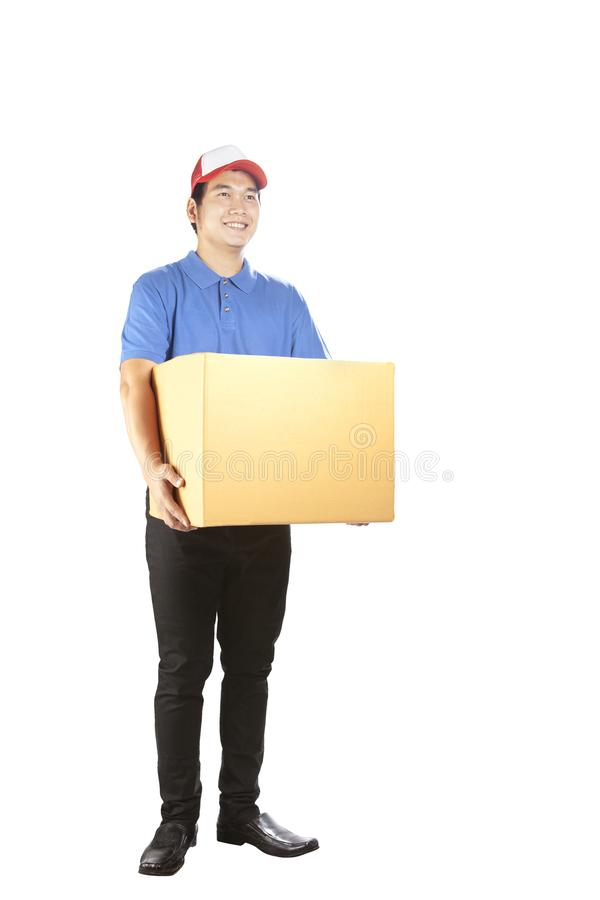 toothy smiling face delivery man holding card box standing isolated white background royalty free stock photography