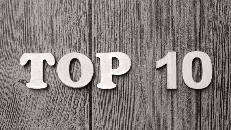 Top 10 κατάλογος, κινητήρια έννοια αποσπασμάτων λέξεων στοκ εικόνα
