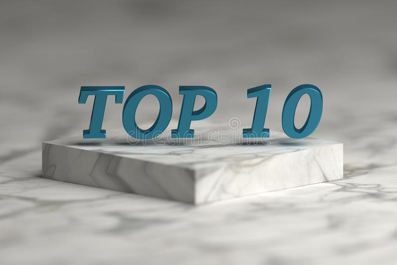 Top 10 λέξη στη λαμπρή μπλε μεταλλική σύσταση ελεύθερη απεικόνιση δικαιώματος