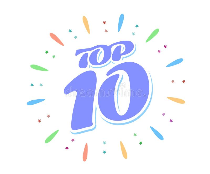 Top 10 μπλε λέξη μέσα στα πυροτεχνήματα στο άσπρο υπόβαθρο Μια χρωματισμένη επιγραφή όγκου διανυσματική απεικόνιση
