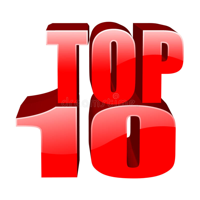 Top 10. 3d dimensional top 10 text on white royalty free illustration