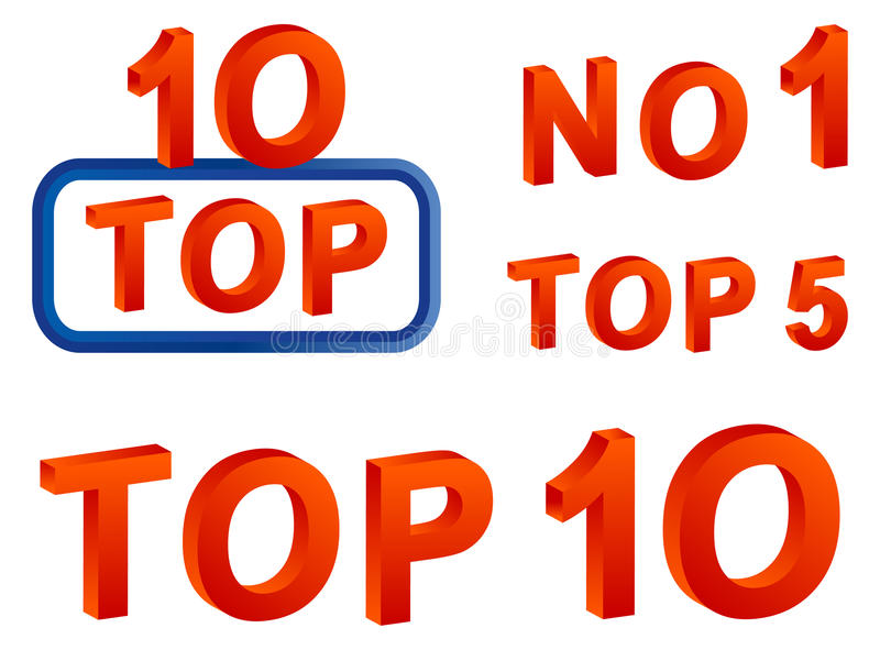Top 10. Top 5; top 10 and no 1 text on white background royalty free illustration