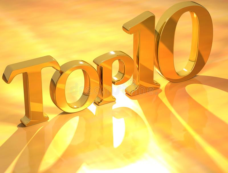 Top 10 Gold Text. 3D Top 10 Gold Text on yellow background stock illustration