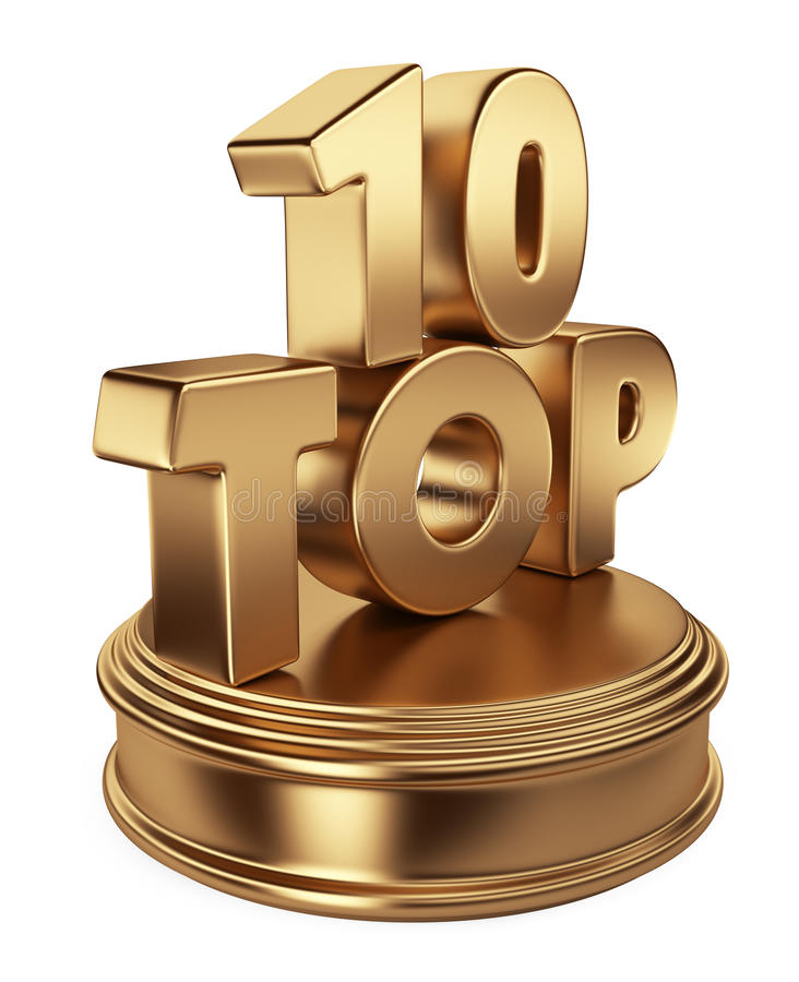 Top 10 on podium. 3D icon isolated royalty free illustration