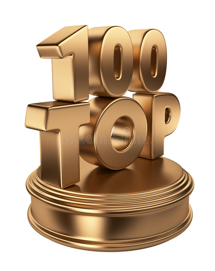 Top 100 on podium. 3D icon isolated vector illustration