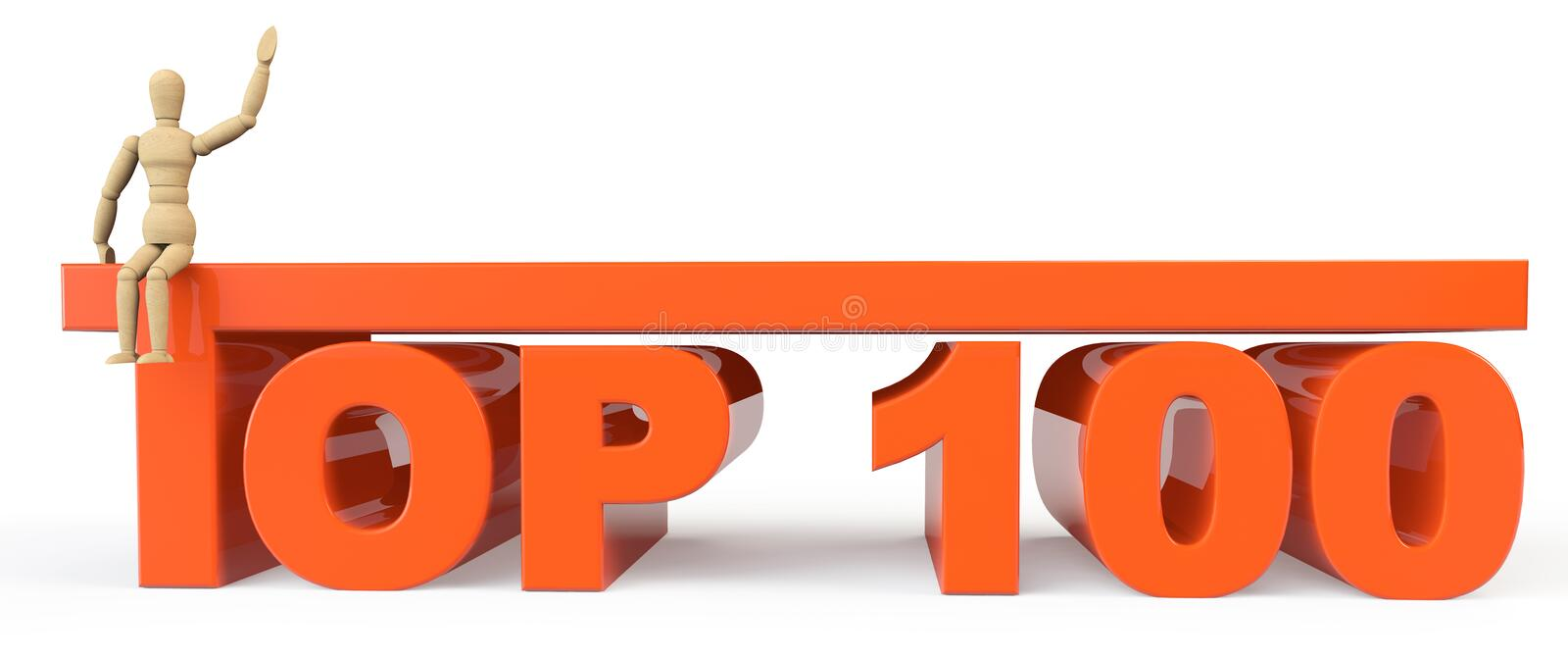 Top 100 sign with dummy. On a white background royalty free illustration