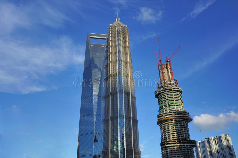 The top 3 highest buildings in Shanghai stock images
