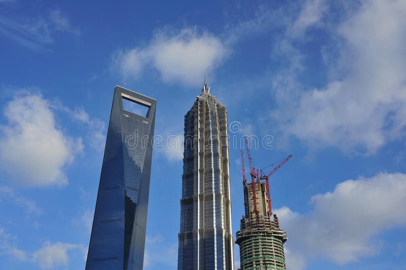 The top 3 highest buildings in Shanghai royalty free stock image