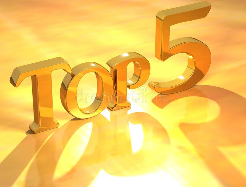 Download Top 5 Gold Text stock illustration. Image of list, image - 18346222