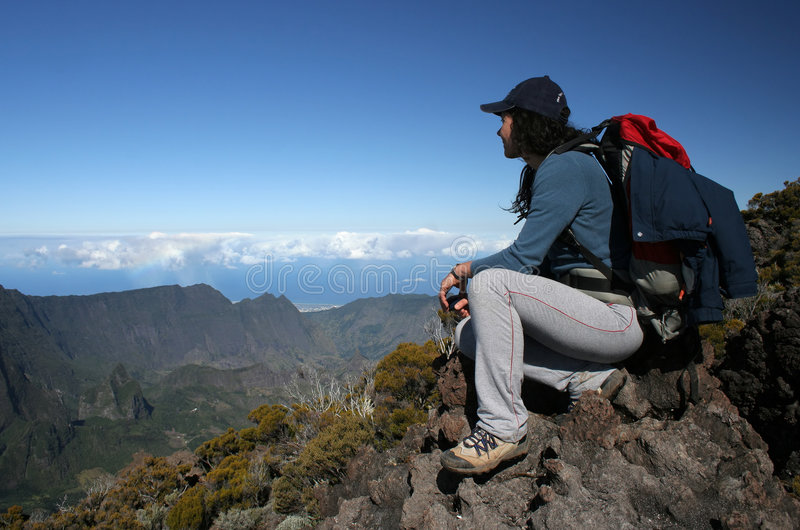 Download On the top stock image. Image of backpacking, altitude - 6417513