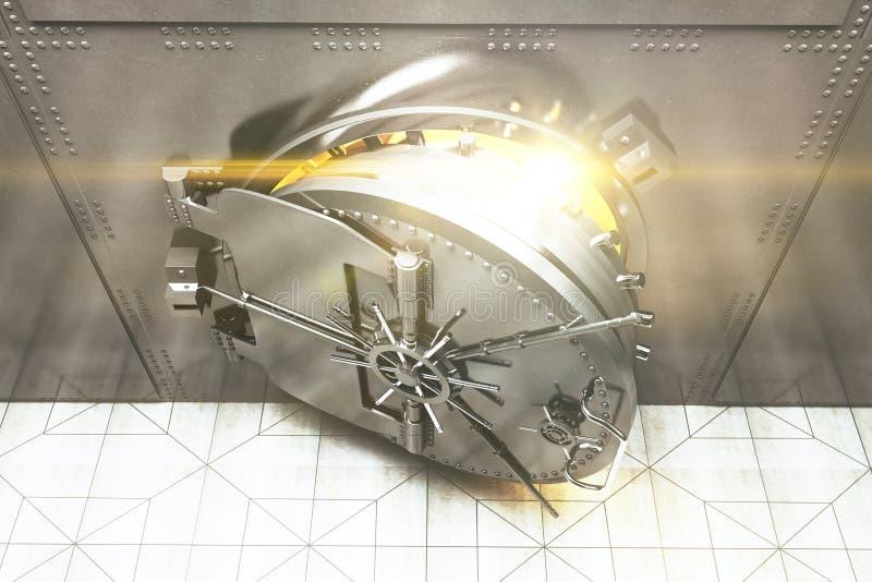 Top abierto de la cámara acorazada de banco ilustración del vector