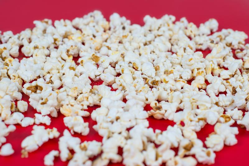 Top above high angle overhead over head close up view photo of tasty delicious yummy yellow spicy fresh popcorn isolated over. Bright color background stock photos