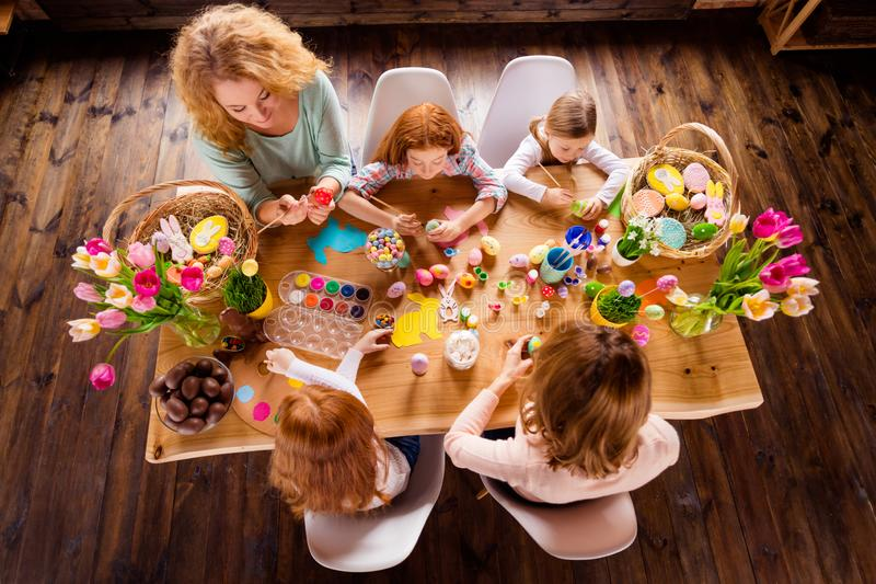 Top above high angle view of nice work place table atrist group of people ladies doing making creating colorful modern royalty free stock photography