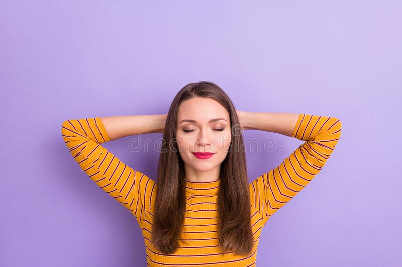 Top above high angle view photo of calm lovely pretty charming woman rest relax after work day sleep enjoy nap wear good. Top above high angle view photo of calm stock photos