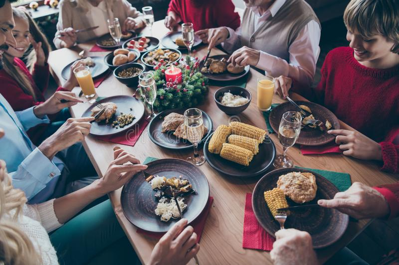 Top above and high angle view photo of festive table filled with various food meals enjoying leisure with x-mas stock image