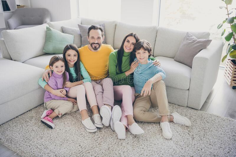 Top above high angle view photo of loving harmony cozy family dad daddy mom mommy having three beautiful little children royalty free stock images