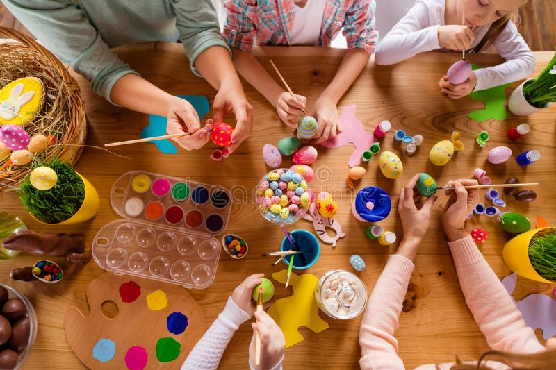 Top above high angle view of work place table nice group of people hands doing making decor accessory things classes stock photo