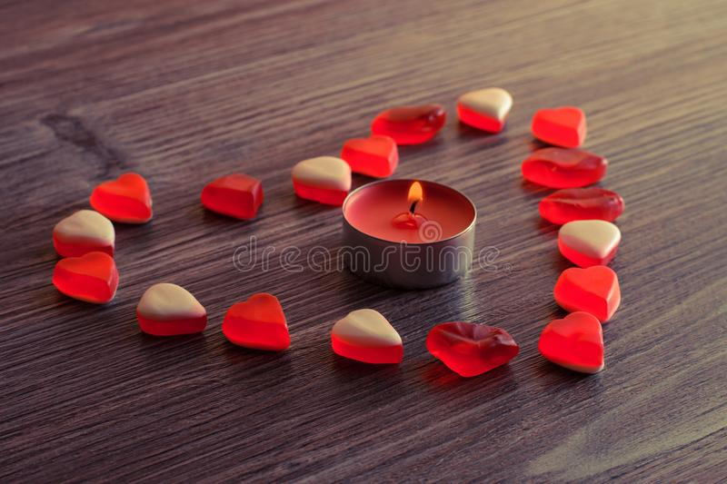 Top above overhead close up view photo of lovely cute charming pretty beatiful heart present for girlfriend from loving boyfriend. royalty free stock image