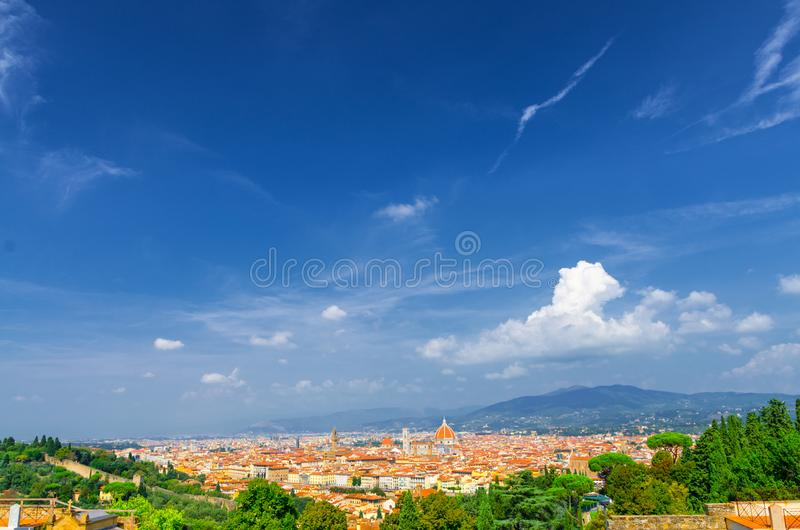 Top aerial panoramic view of Florence city with Duomo Cattedrale di Santa Maria del Fiore cathedral stock photo
