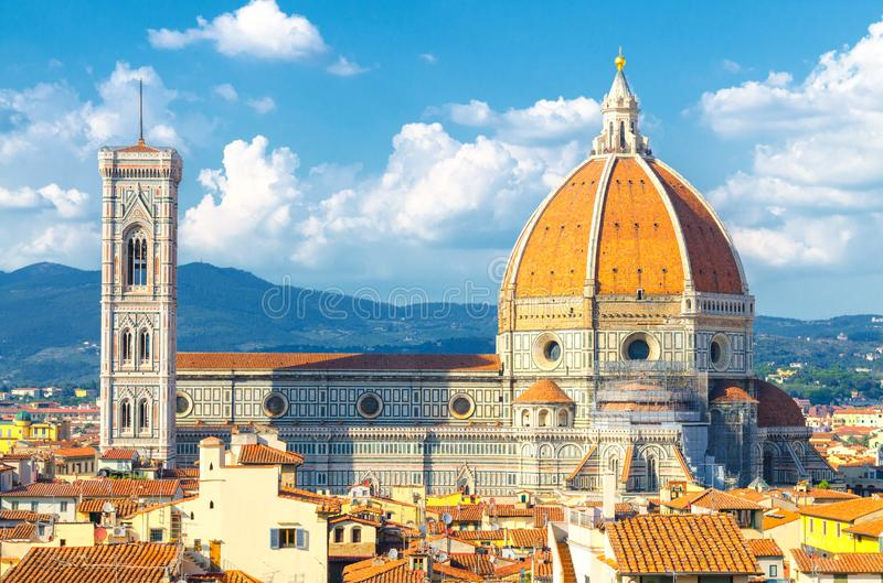 Top aerial panoramic view of Florence city with Duomo Cattedrale di Santa Maria del Fiore cathedral royalty free stock image