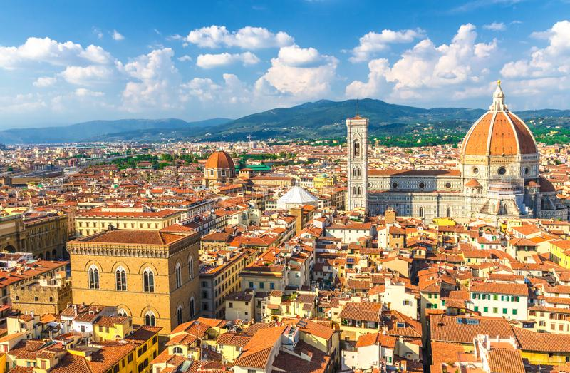 Top aerial panoramic view of Florence city with Duomo Cattedrale di Santa Maria del Fiore cathedral royalty free stock photos