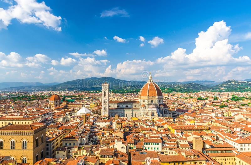 Top aerial panoramic view of Florence city with Duomo Cattedrale di Santa Maria del Fiore cathedral stock photos