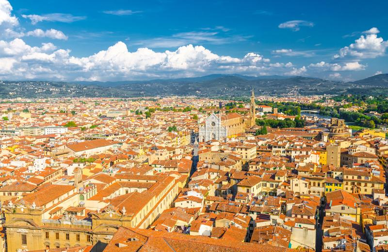 Top aerial panoramic view of Florence city historical centre, Basilica di Santa Croce di Firenze stock photography