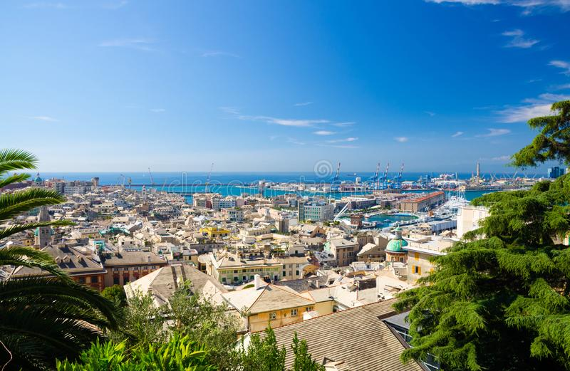 Top aerial scenic panoramic view from above of old historical centre of european city Genoa royalty free stock photography