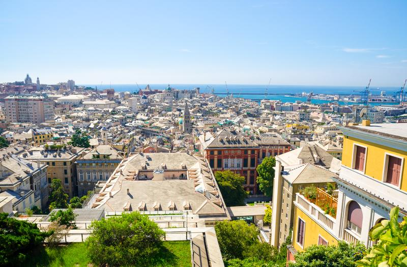 Top aerial scenic panoramic view from above of old historical centre quarter districts of european city Genoa stock photography