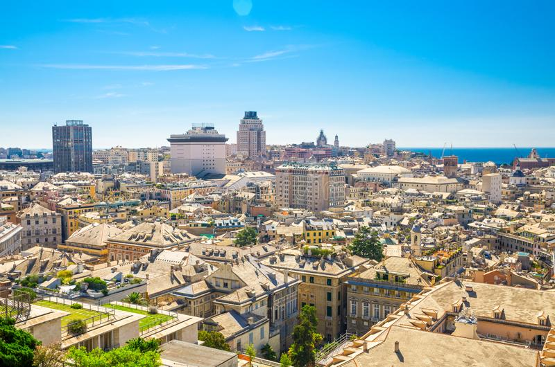 Top aerial scenic panoramic view of european city Genoa royalty free stock image