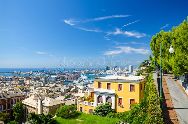 Top aerial scenic panoramic view of european city Genoa royalty free stock images