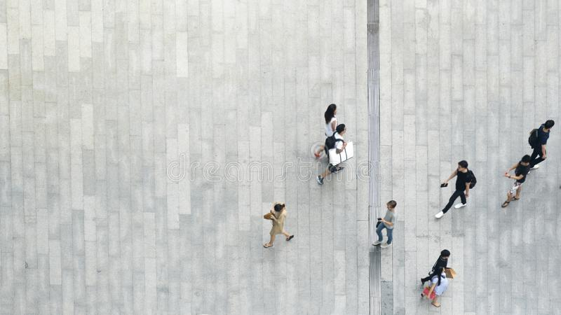 top aerial view crowd of people walking on business street pedestrian royalty free stock photos