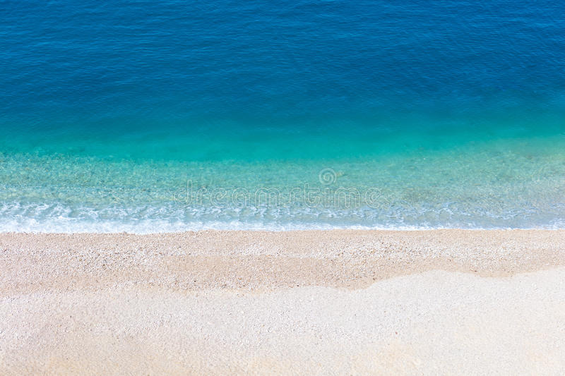 Top aerial view of empty beauty beach in Italy, Europe.  stock photography